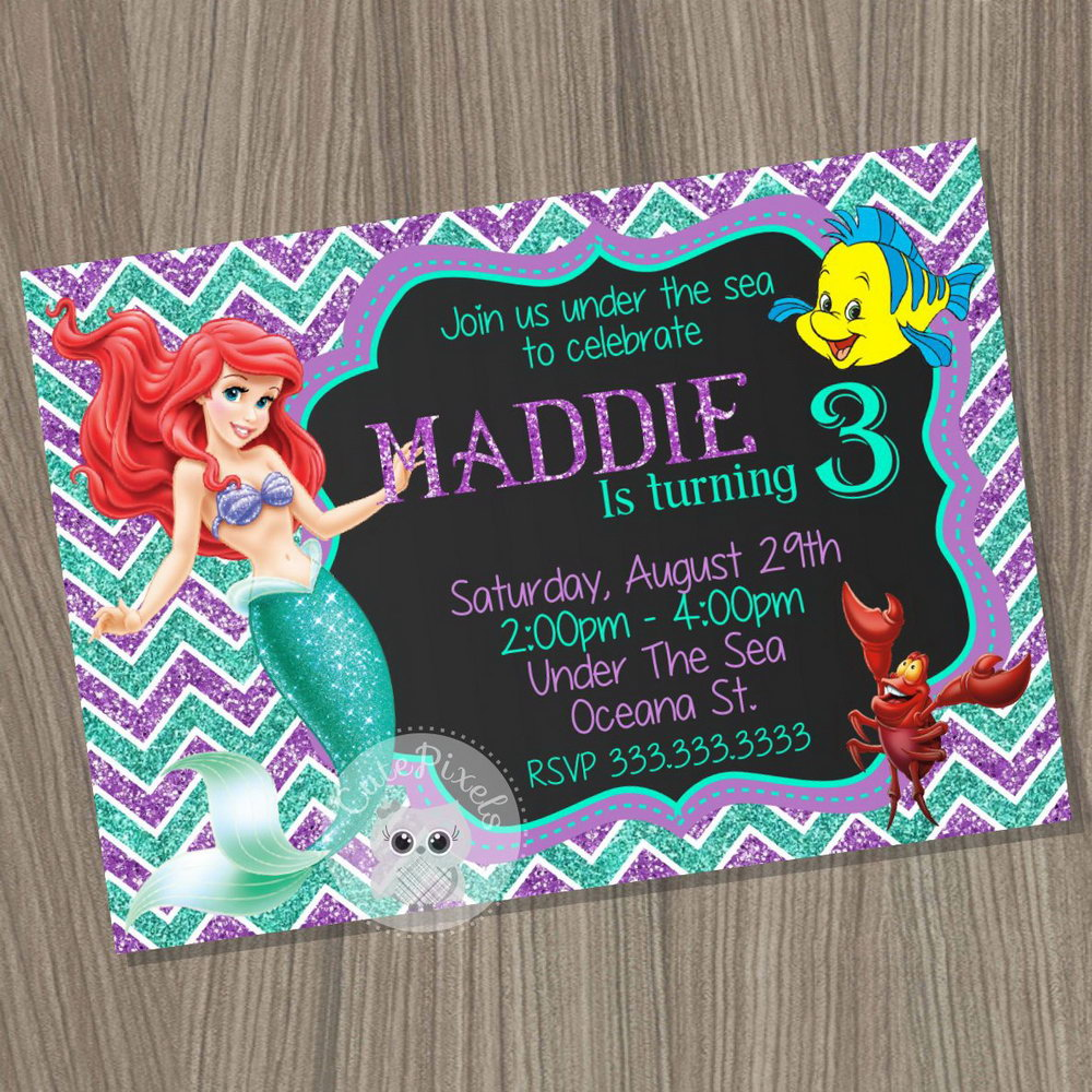 Little Mermaid Invitation Card Template