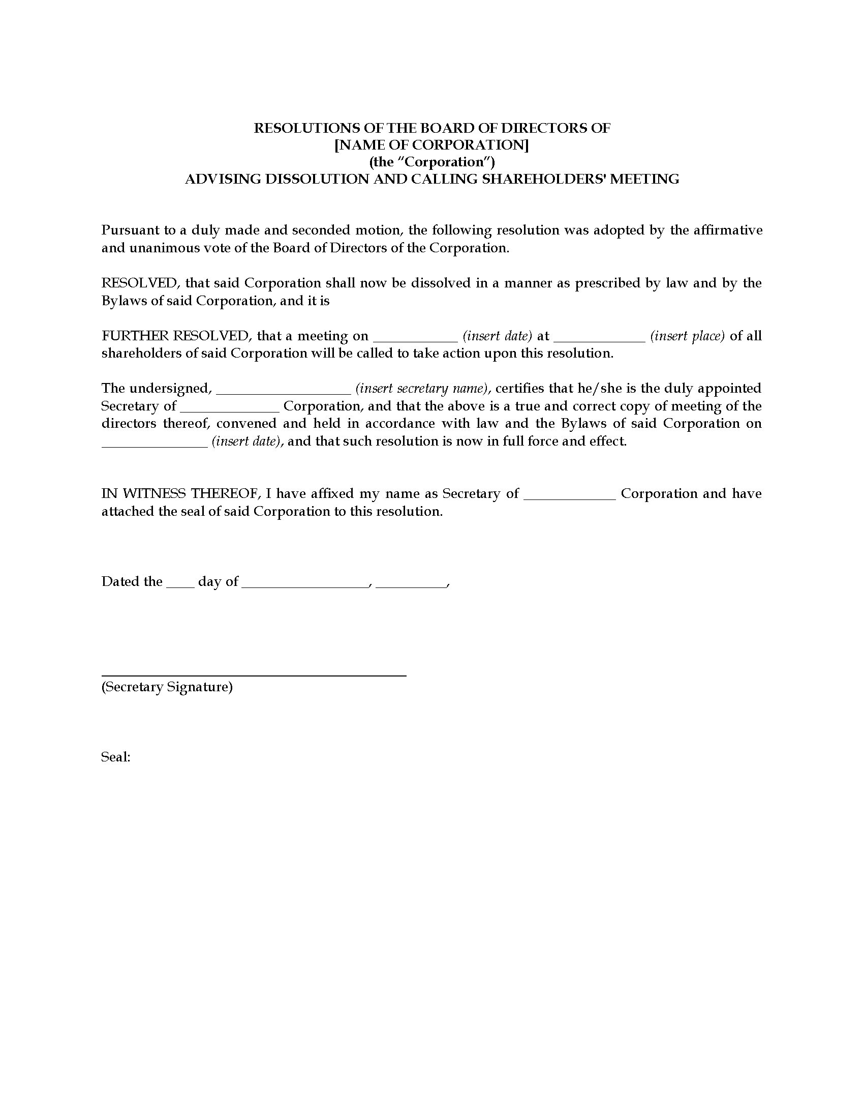 Llc Corporate Resolution Template