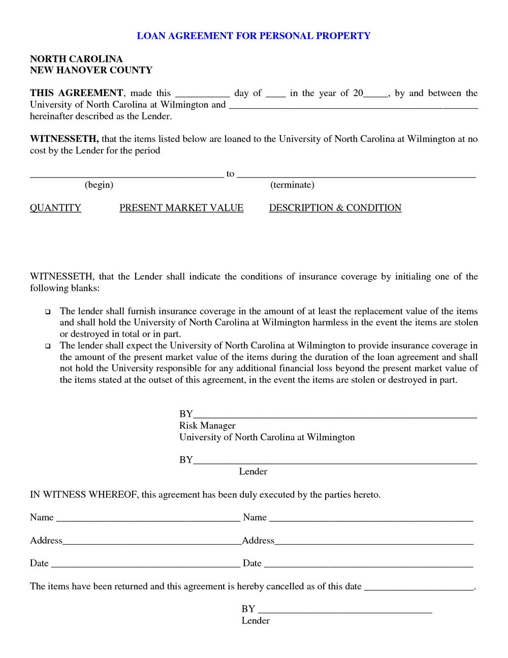 Loan Document Template Uk