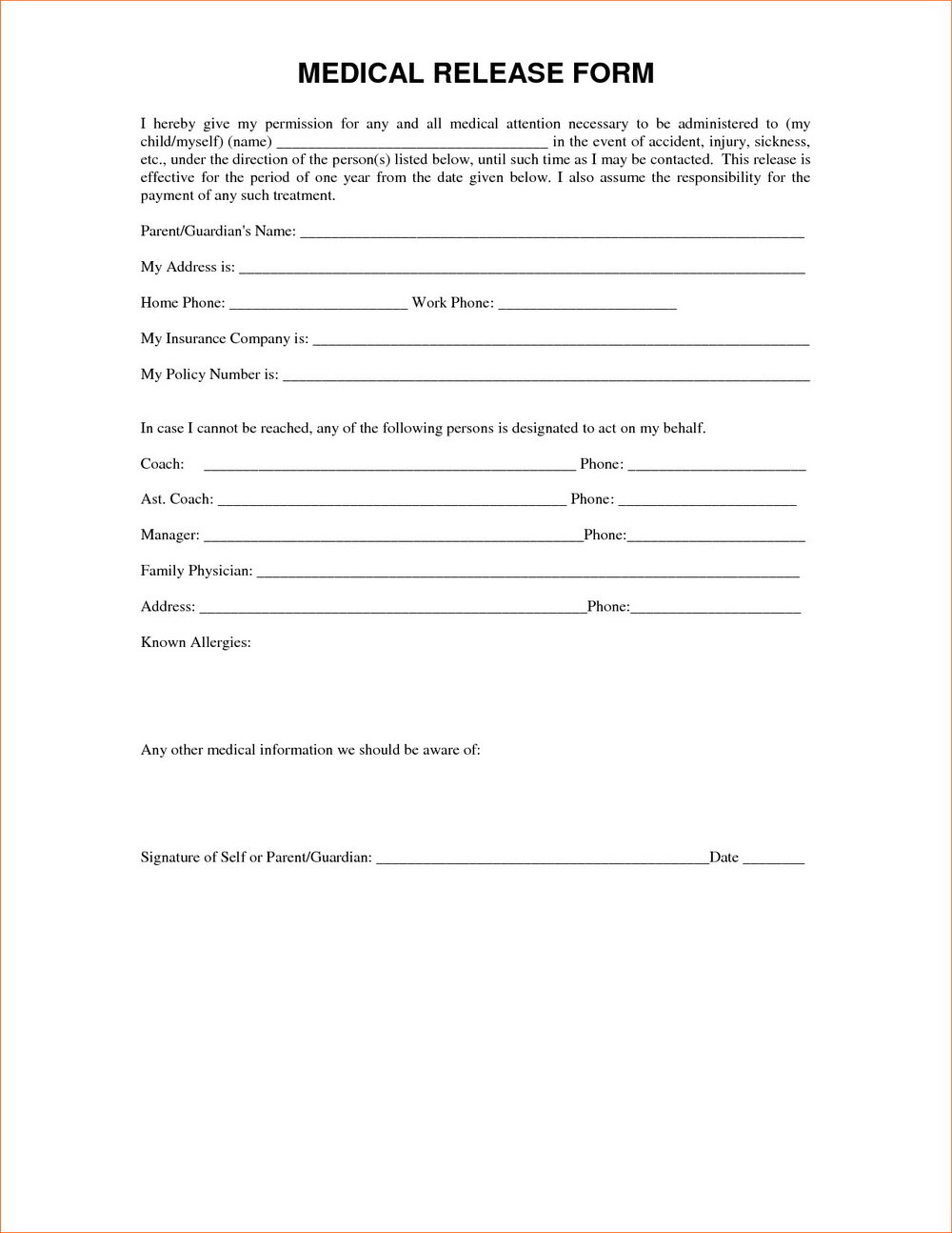 Medical Waiver Form Template