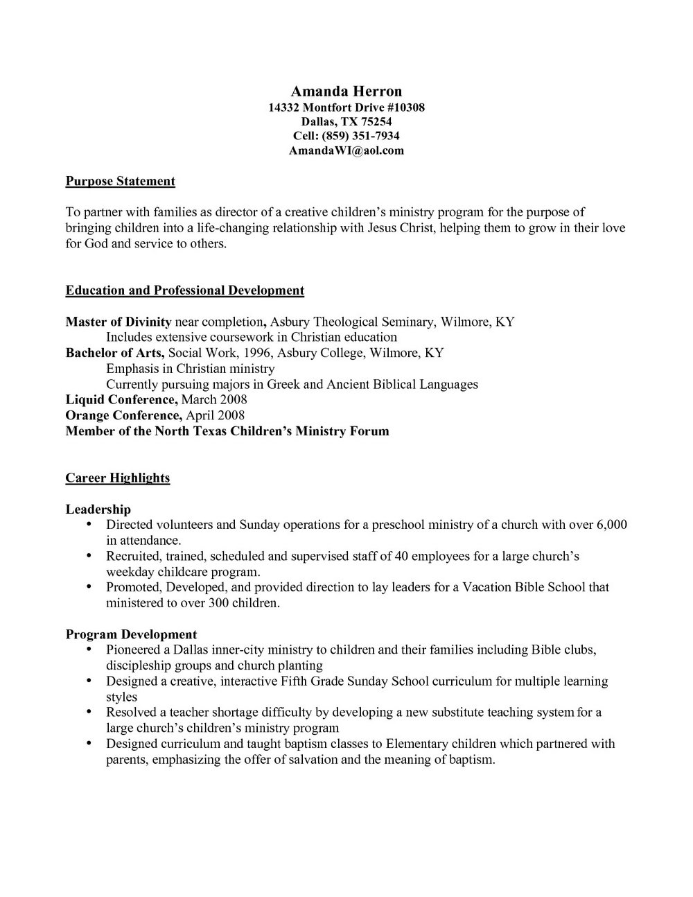 Ministry Resume Templates For Word Resumes Mtu5 Resume