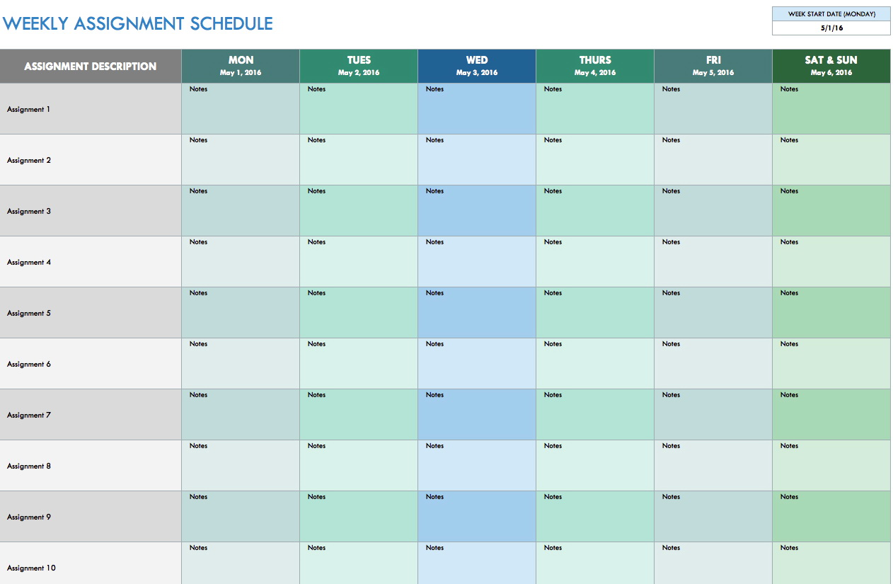 Monthly Project Schedule Template Excel
