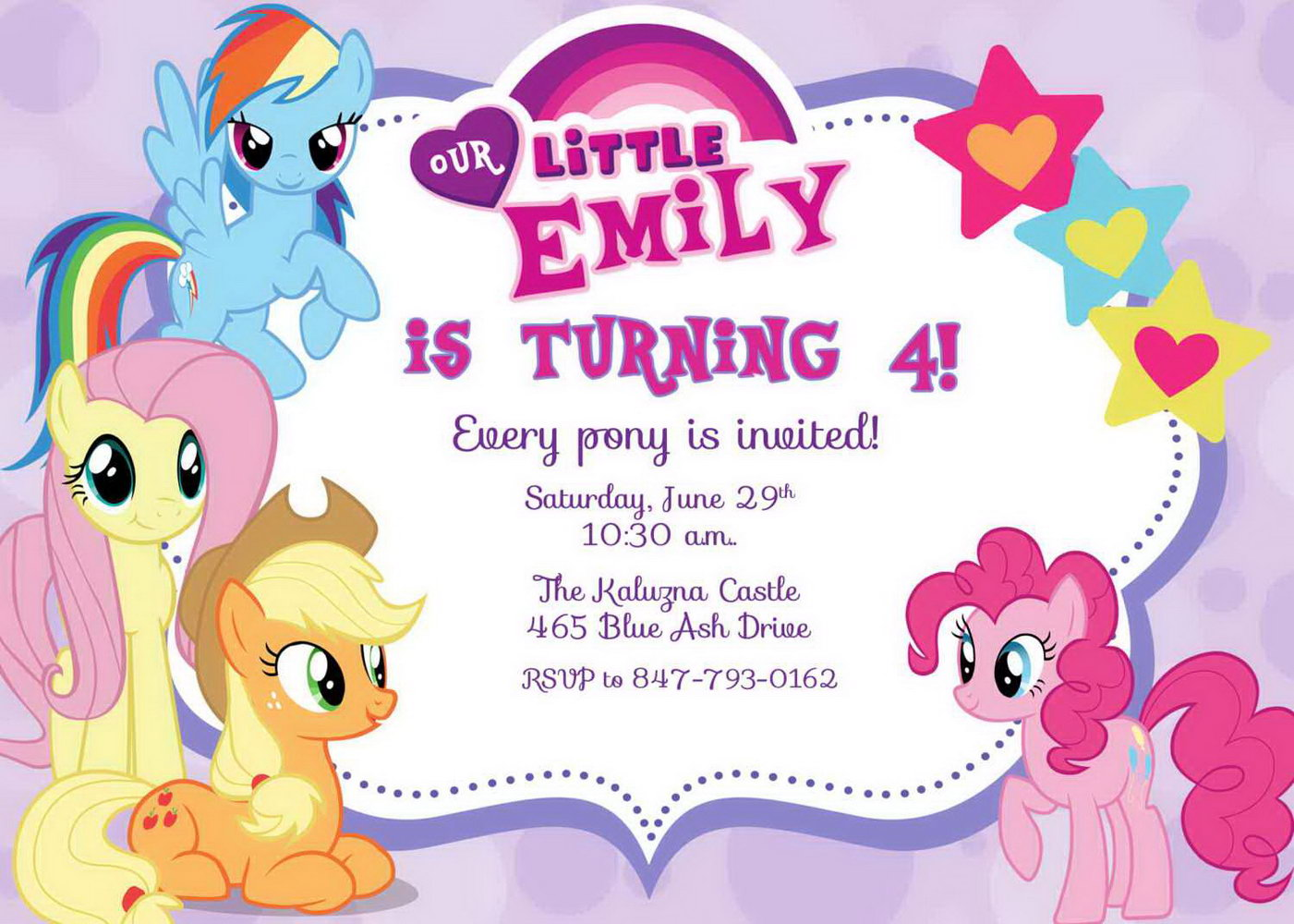 My Little Pony Invitation Template Free Printable