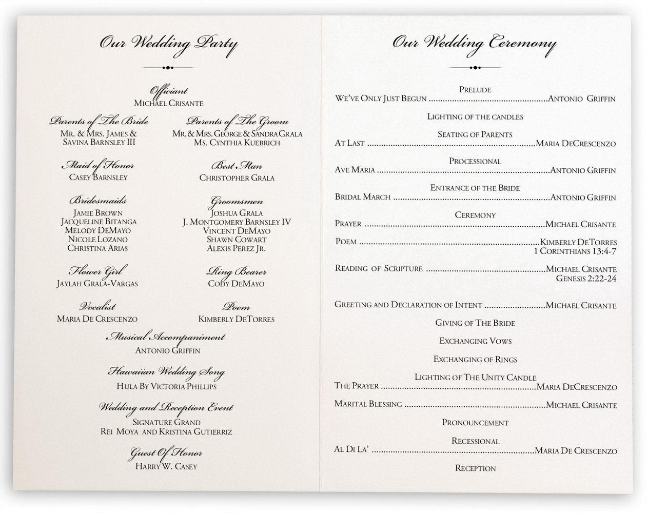 Naming Ceremony Program Template