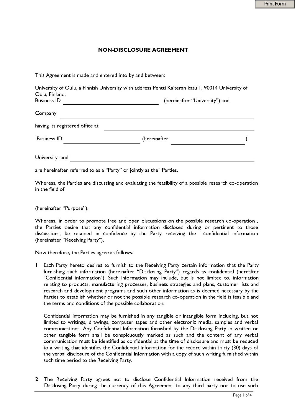 Nda Agreement Template Australia