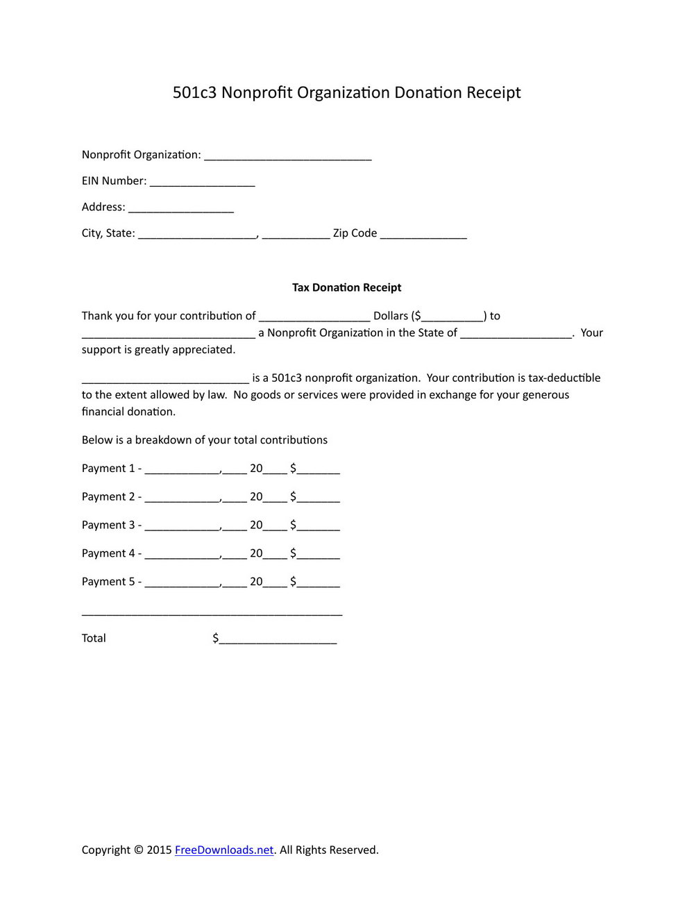 Non Profit Organization Donation Receipt Template