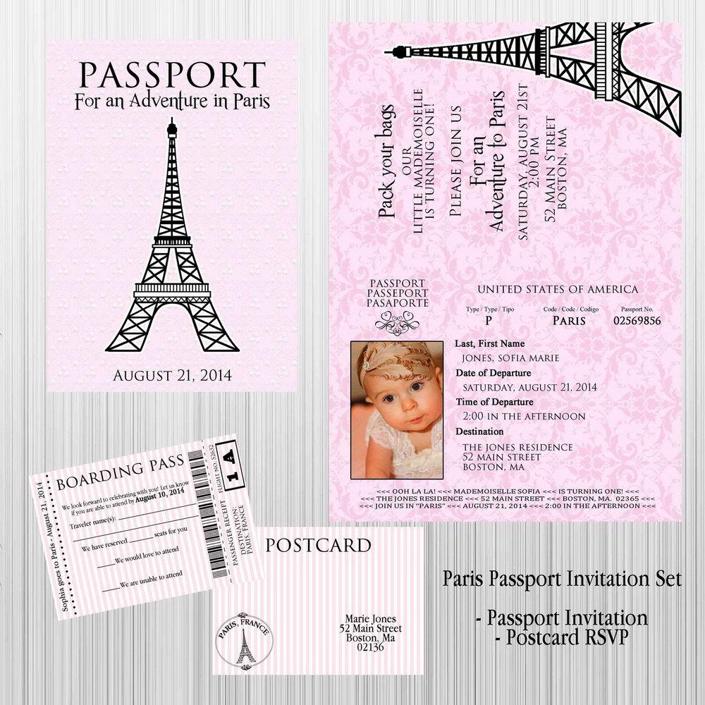 Paris Passport Invitation Template Free