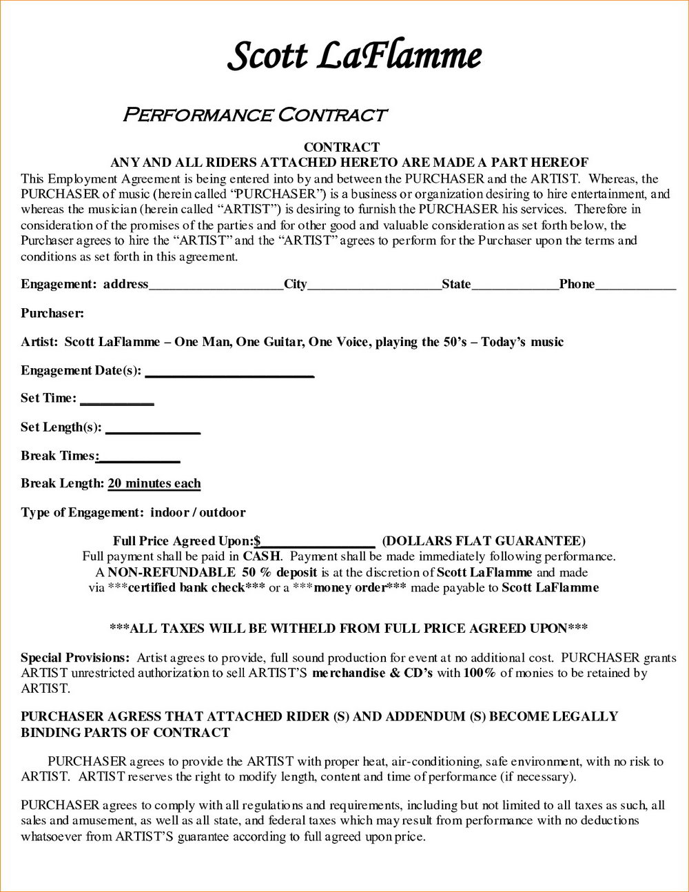 Performing Artist Contract Template