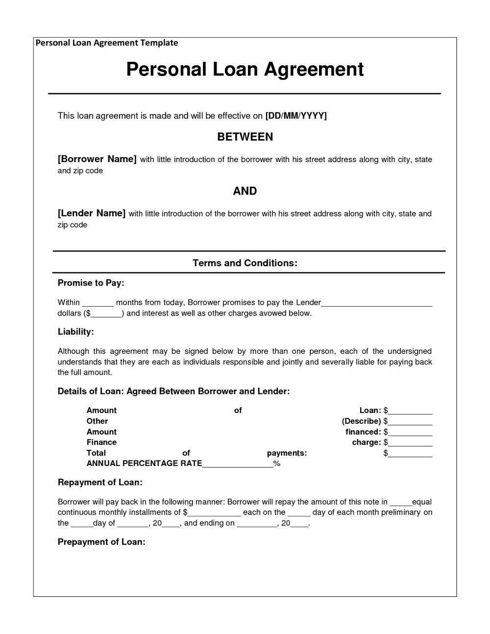 Personal Loan Agreement Template Free