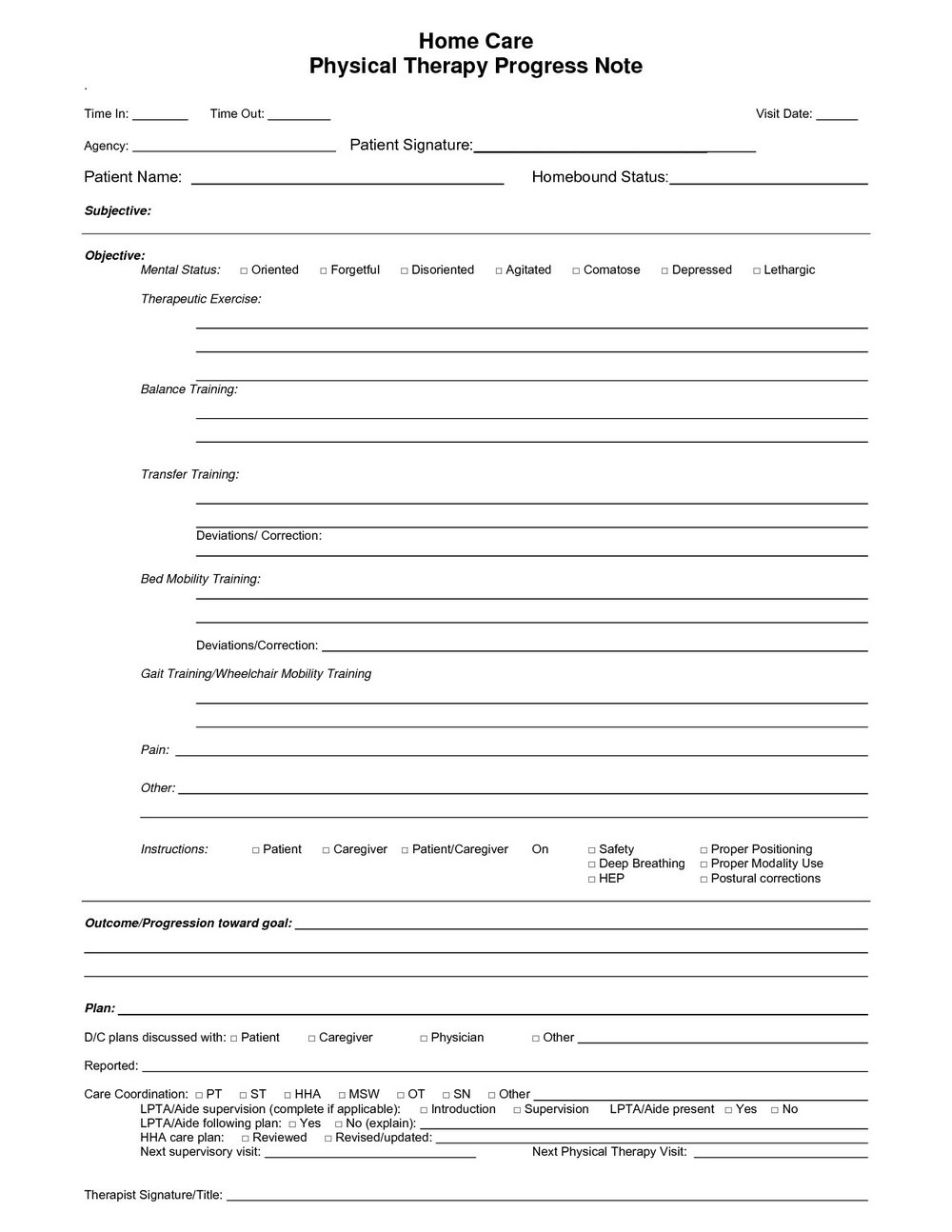Physical Therapy Progress Note Template Pdf