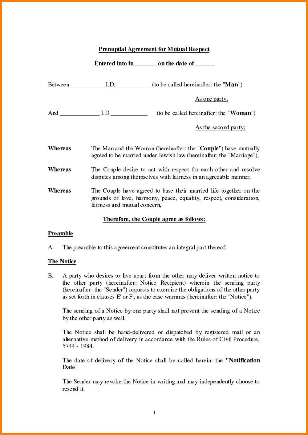 Prenuptial Agreement Australia Template
