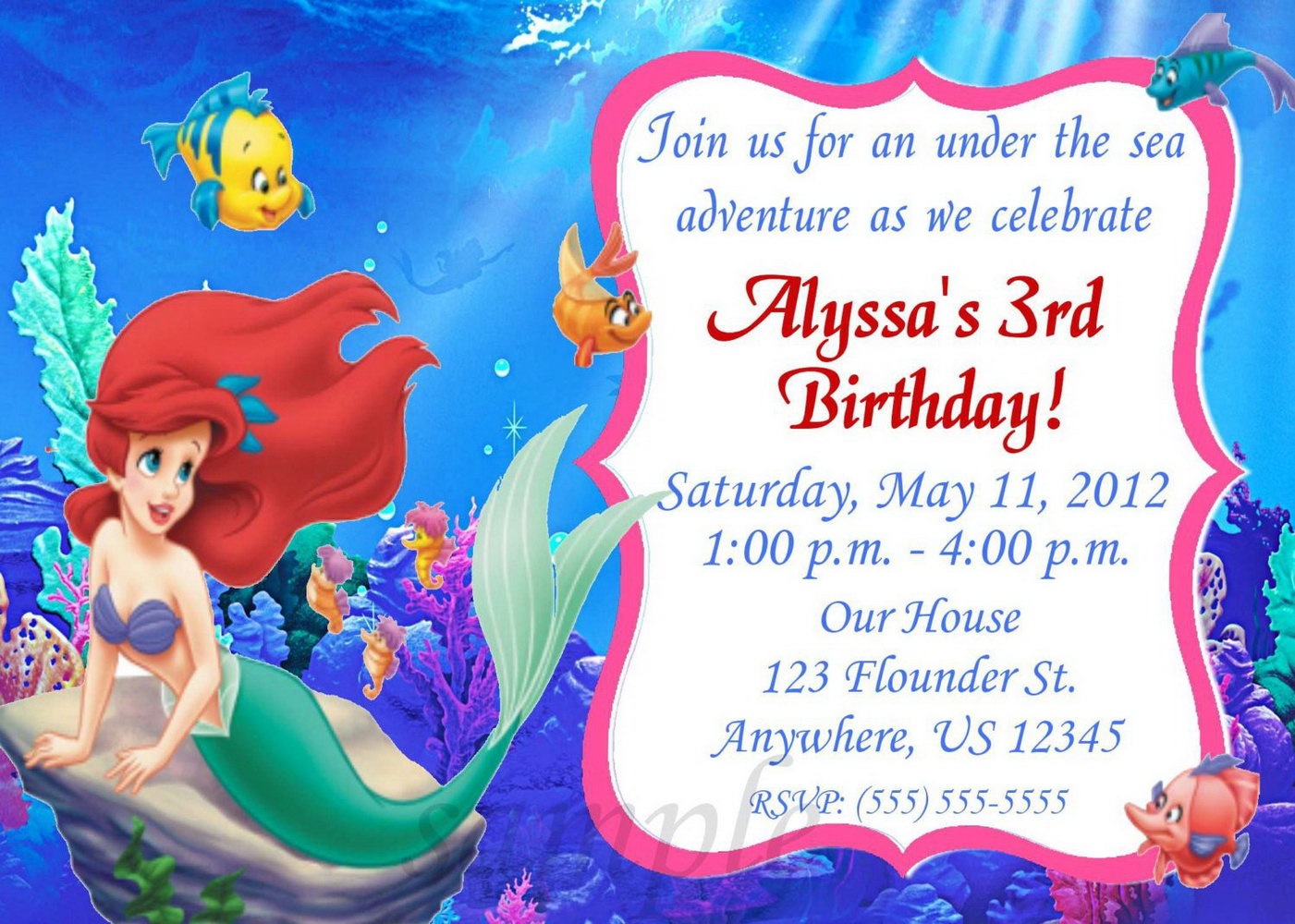 Printable Little Mermaid Invitation Template Free