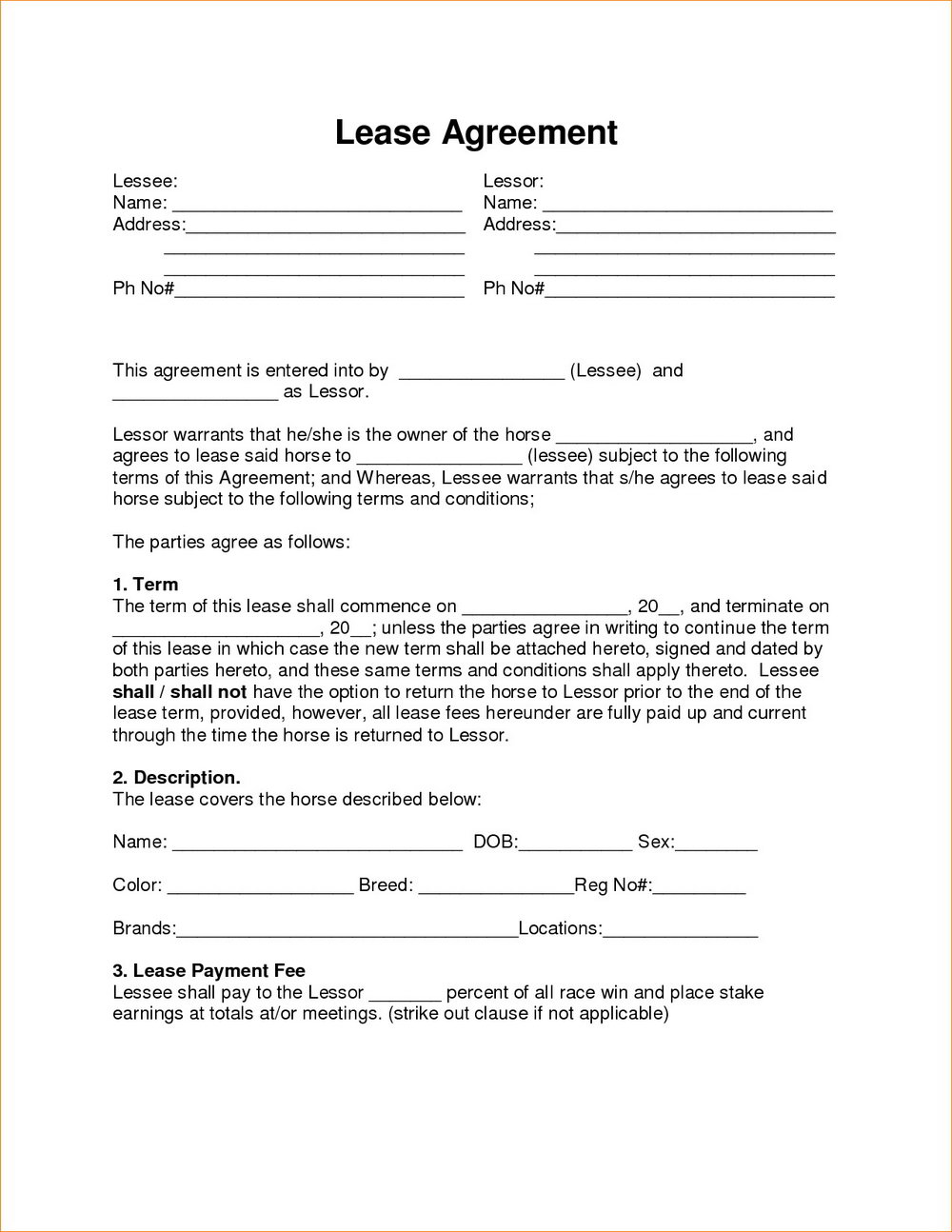 Printable Rent To Own Contract Template