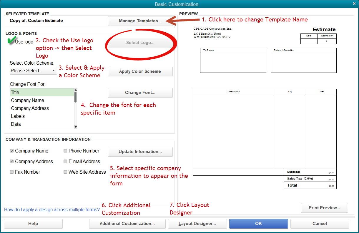 Quickbooks Estimate Template Download