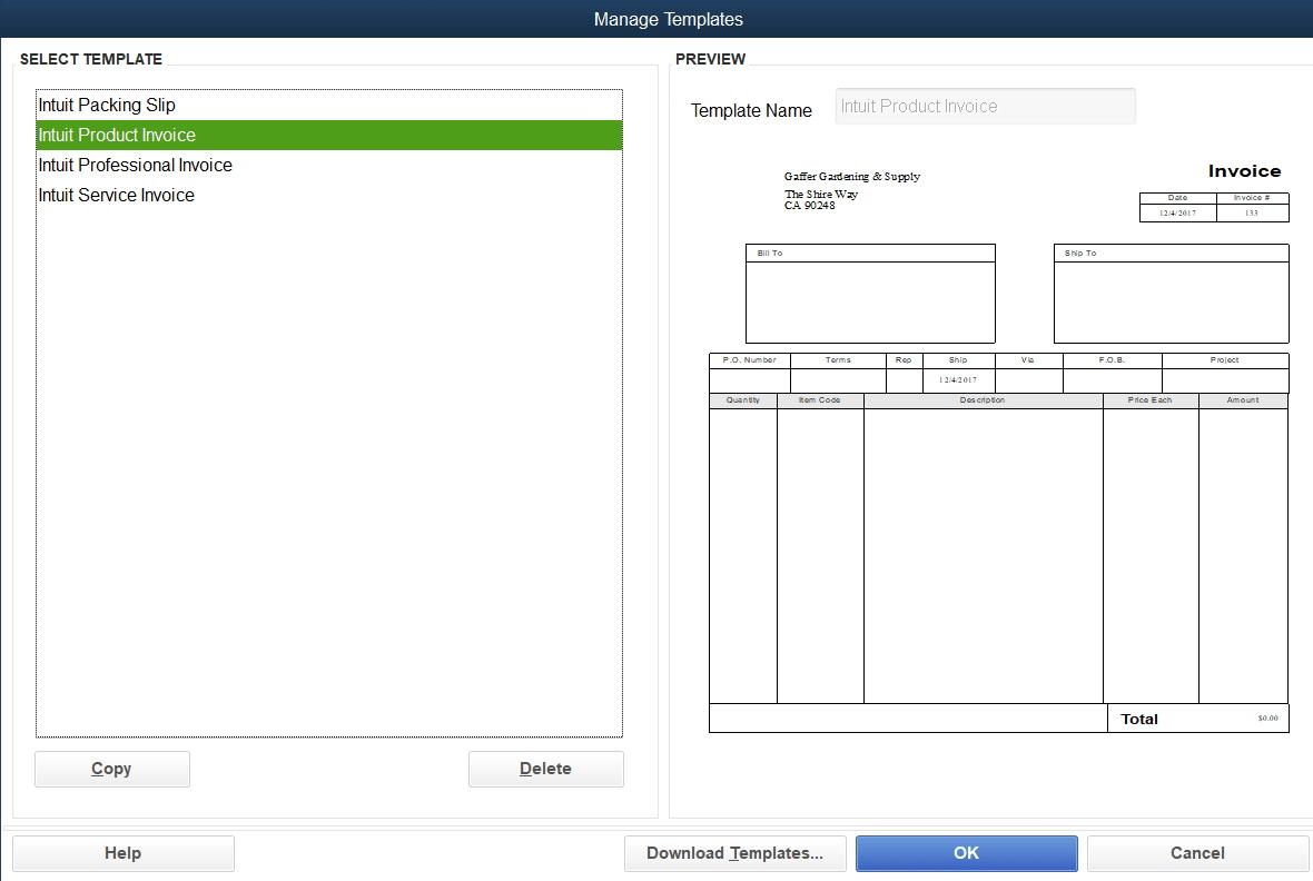 Quickbooks Invoice Templates Free Download