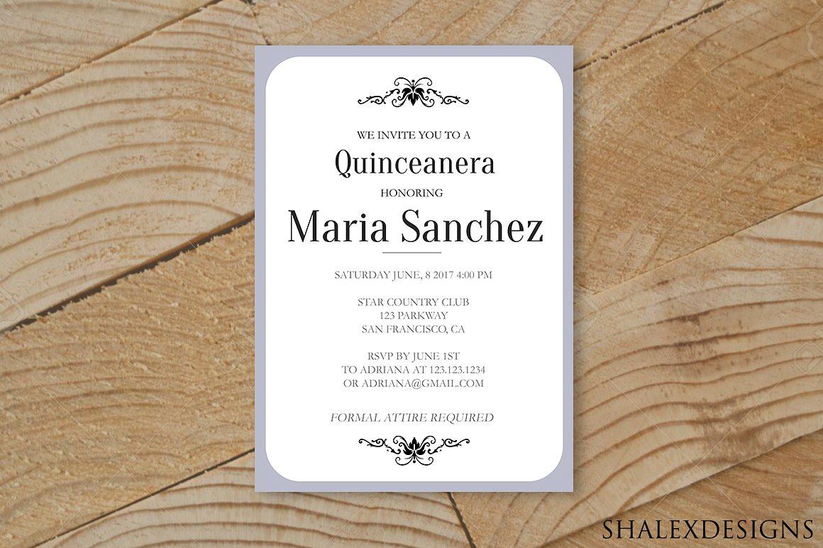 Quinceanera Invitation Template Spanish