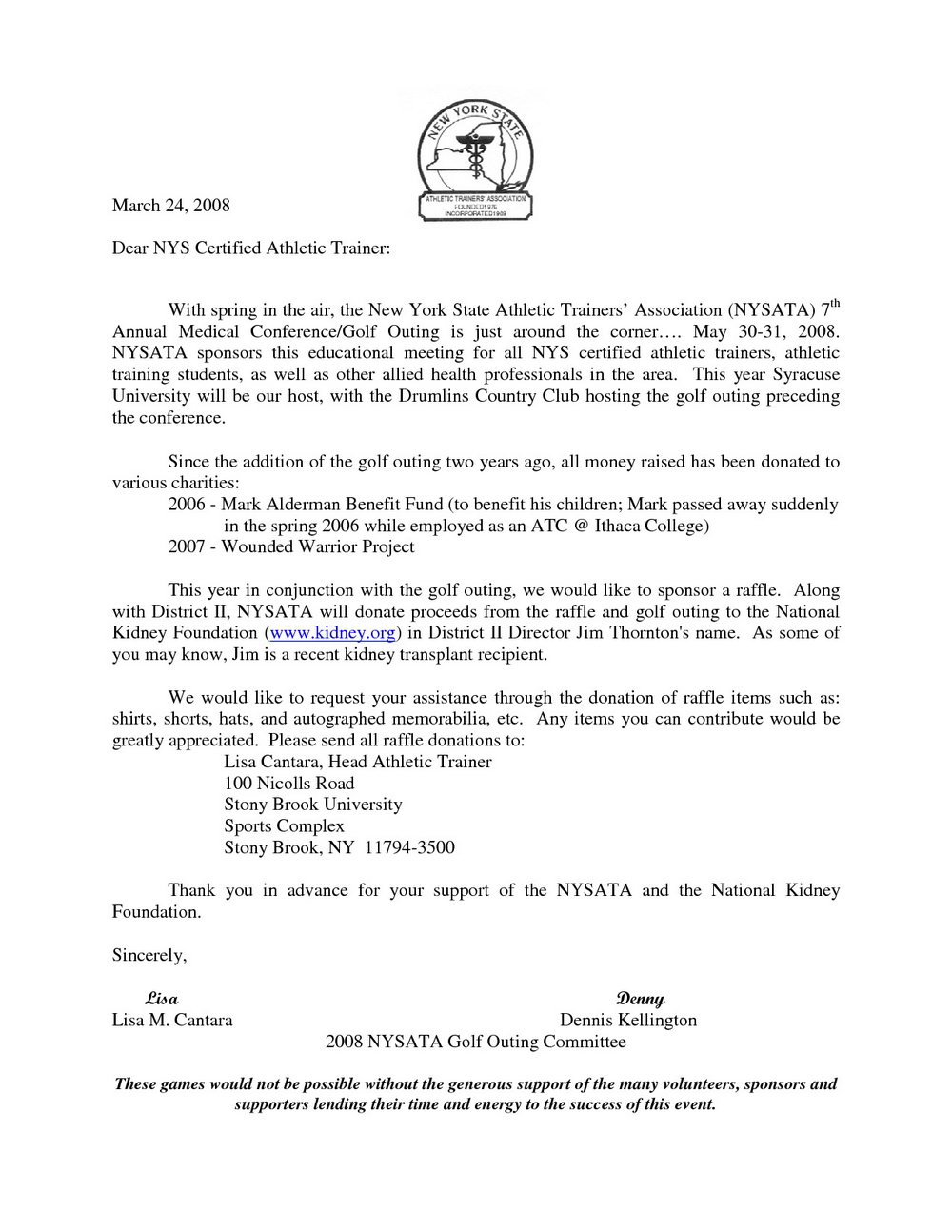 Raffle Donation Request Letter Template