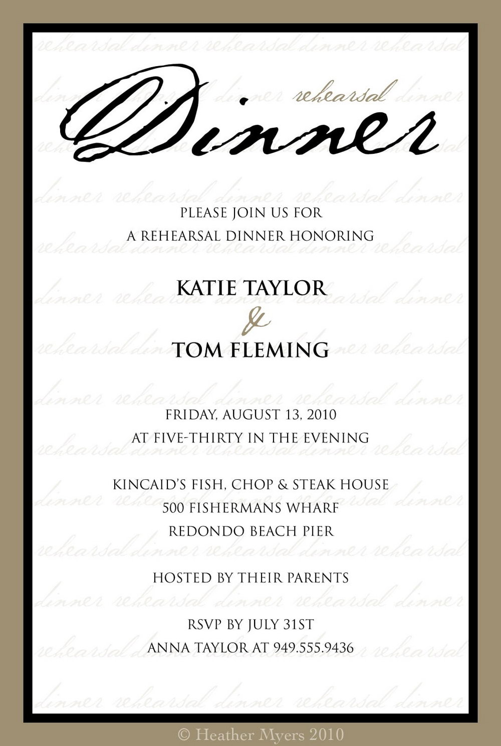 Rehearsal Dinner Invitation Template Word