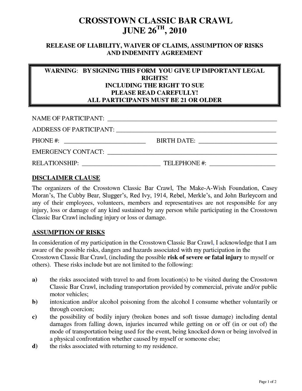 Release Of Liability Form Template California