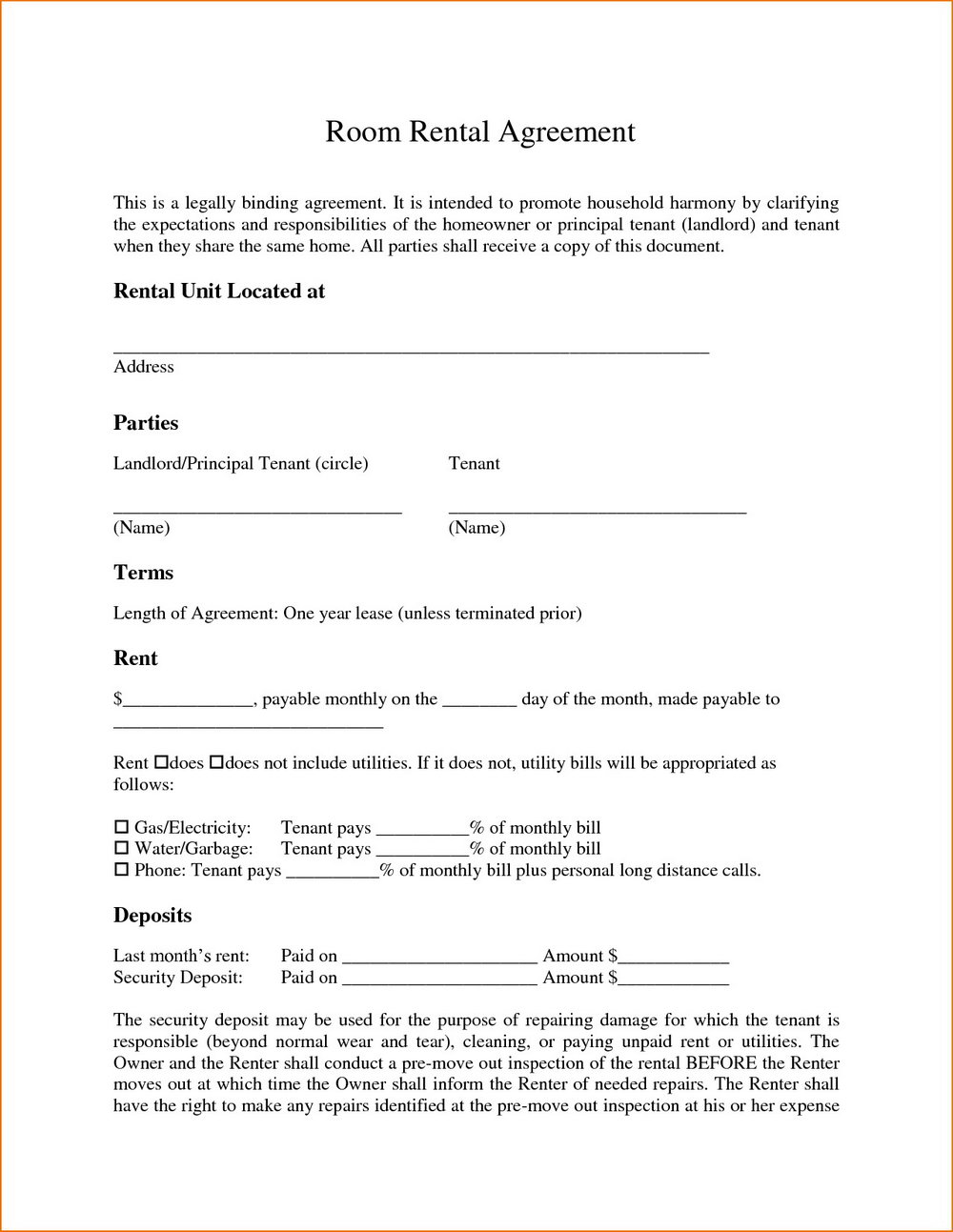 Room Rental Agreement Template Word Doc