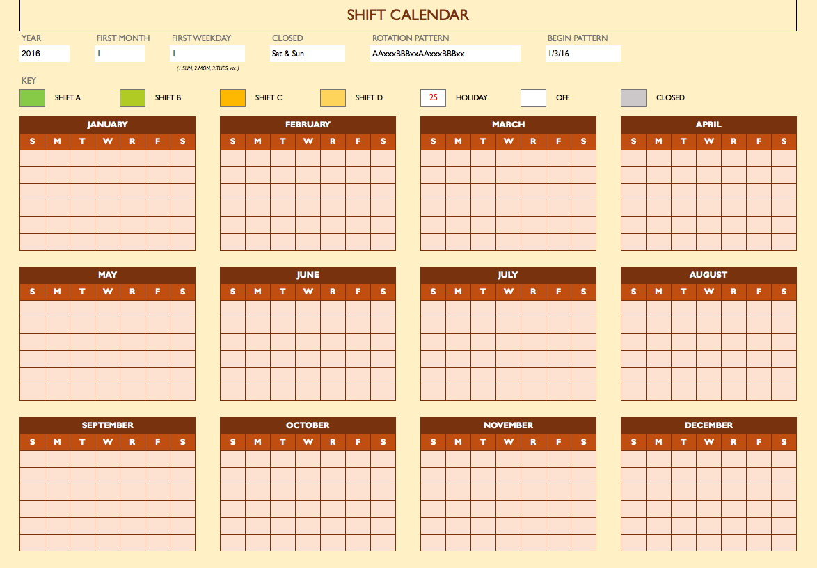 Rotating Holiday Schedule Template