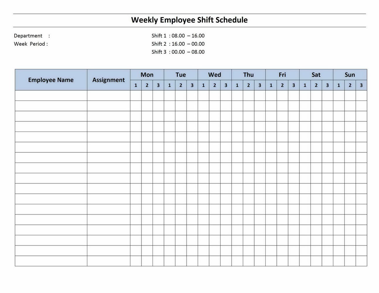 Rotating Weekly Schedule Template