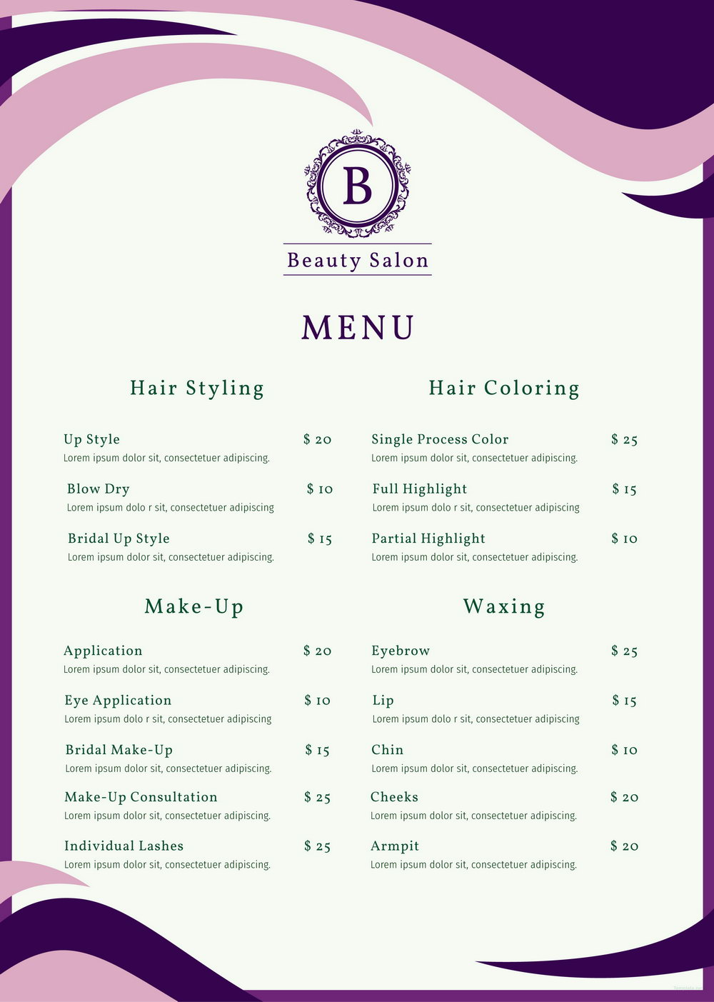 Salon Menu Template Free