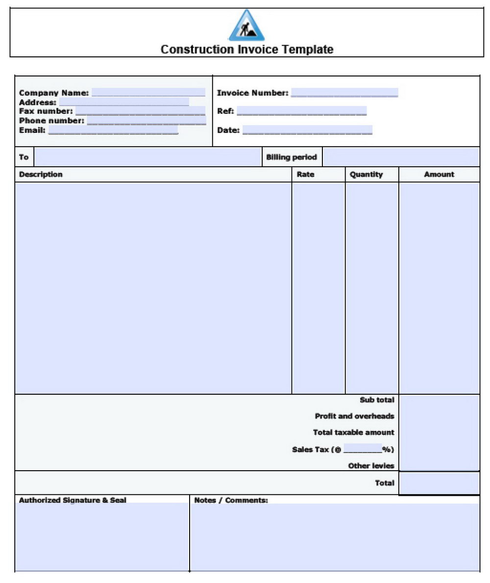 Sample Construction Invoice Template
