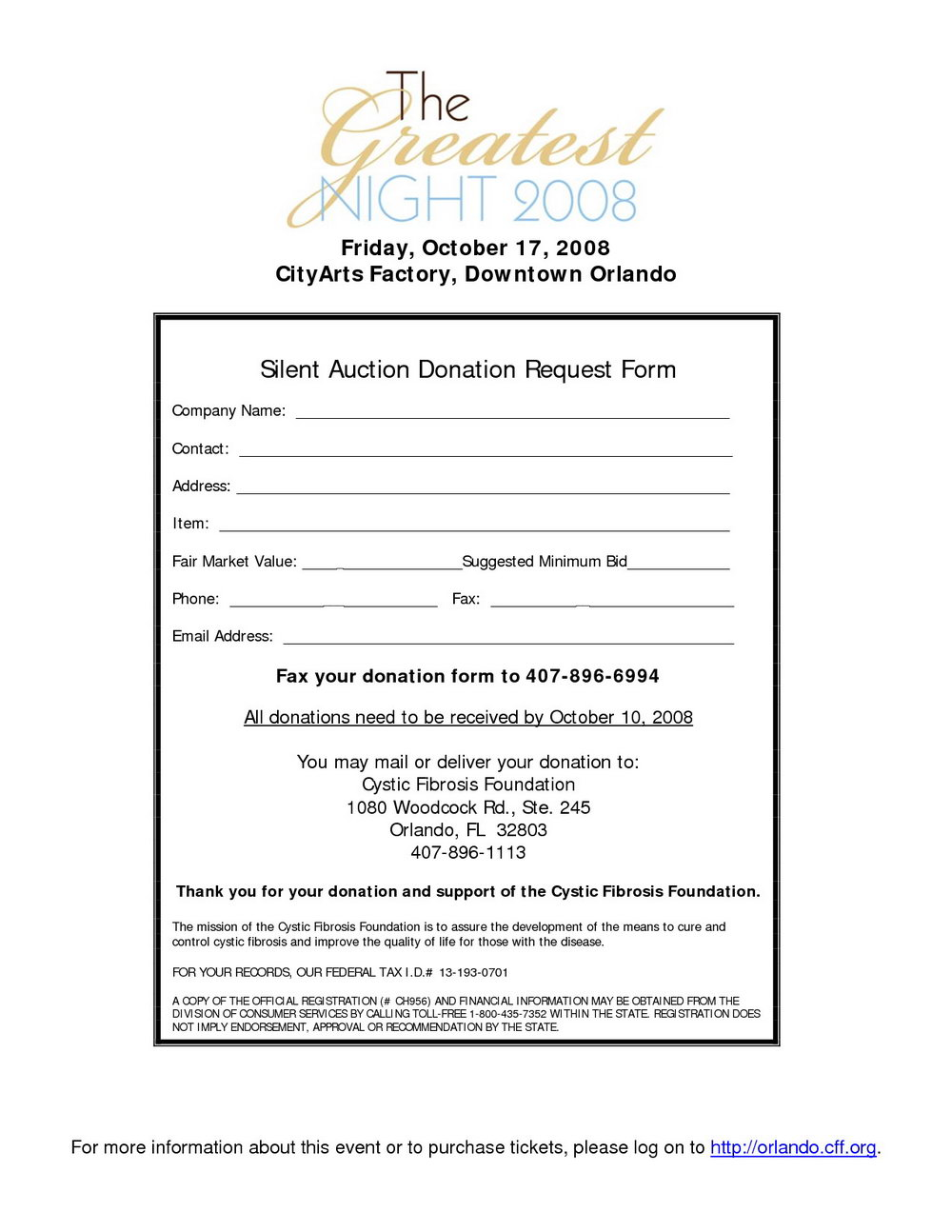 Silent Auction Donation Request Letter Template