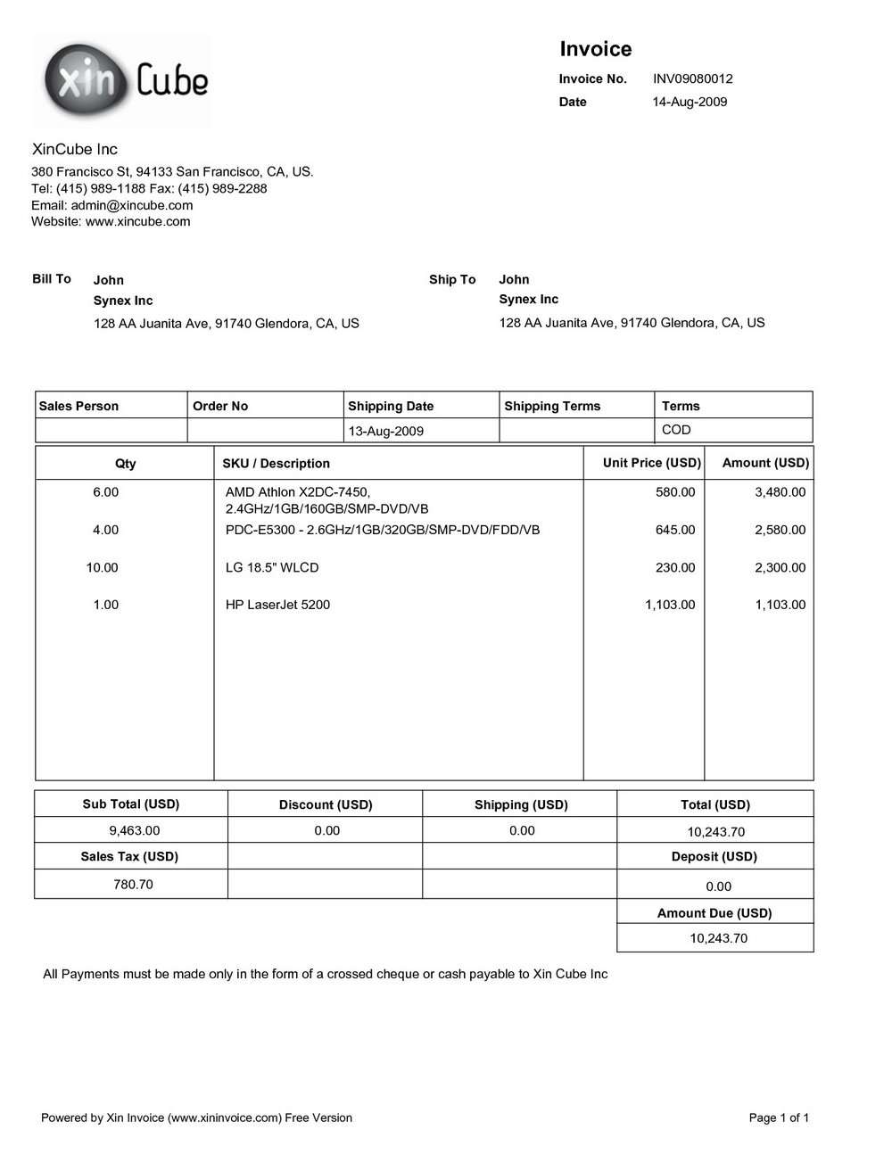 Simple Construction Invoice Template
