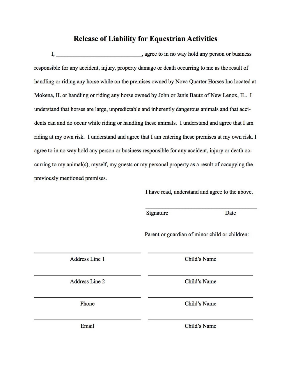 Simple Release Of Liability Form Template