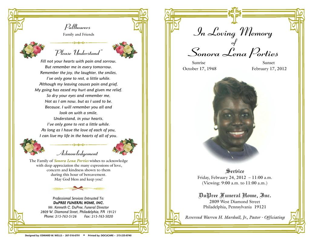 Spanish Funeral Program Template Free