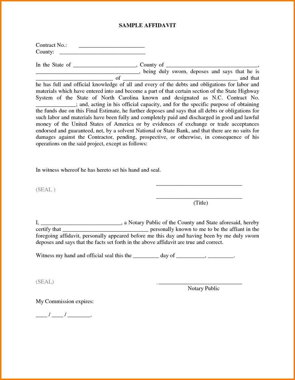 Sworn Affidavit Template Word