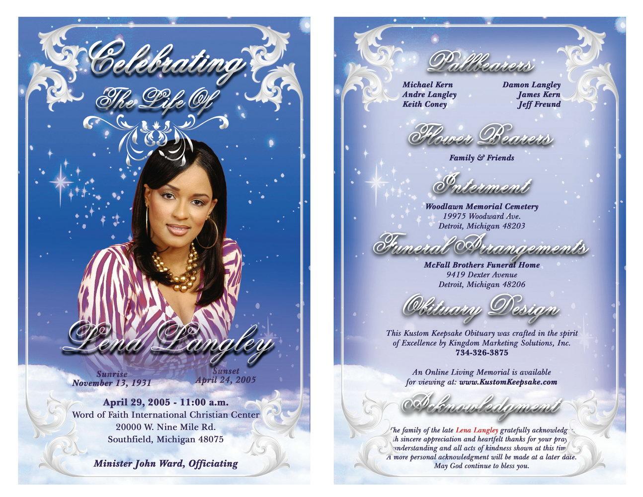 Template For Obituary Card