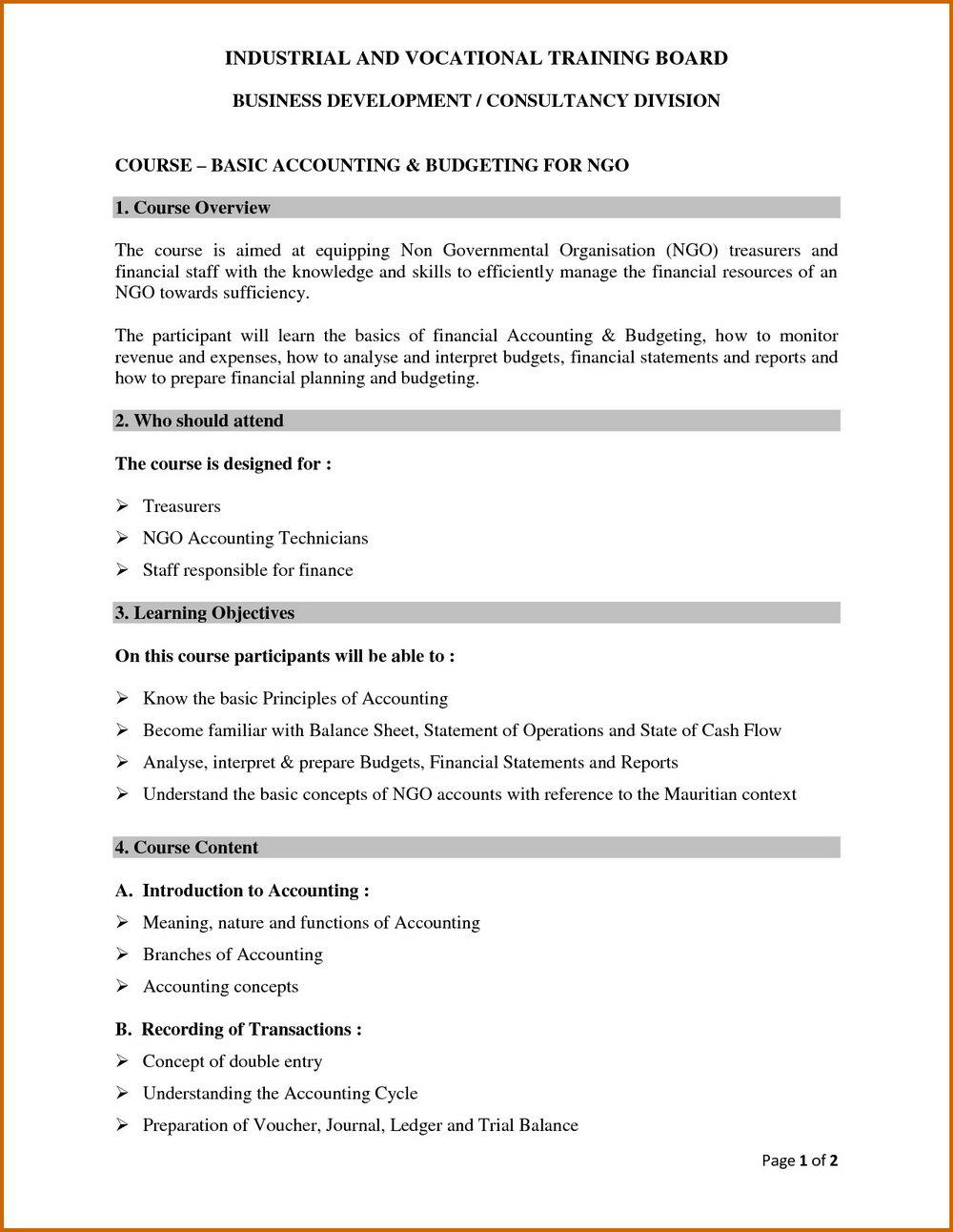 Treasurer's Report Template For Non Profit Organization
