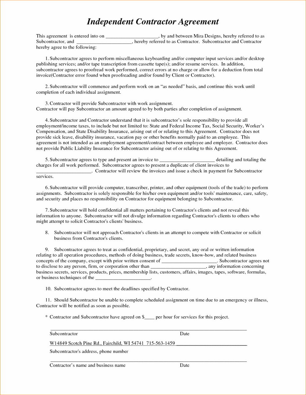 Truck Driver Subcontractor Agreement Template