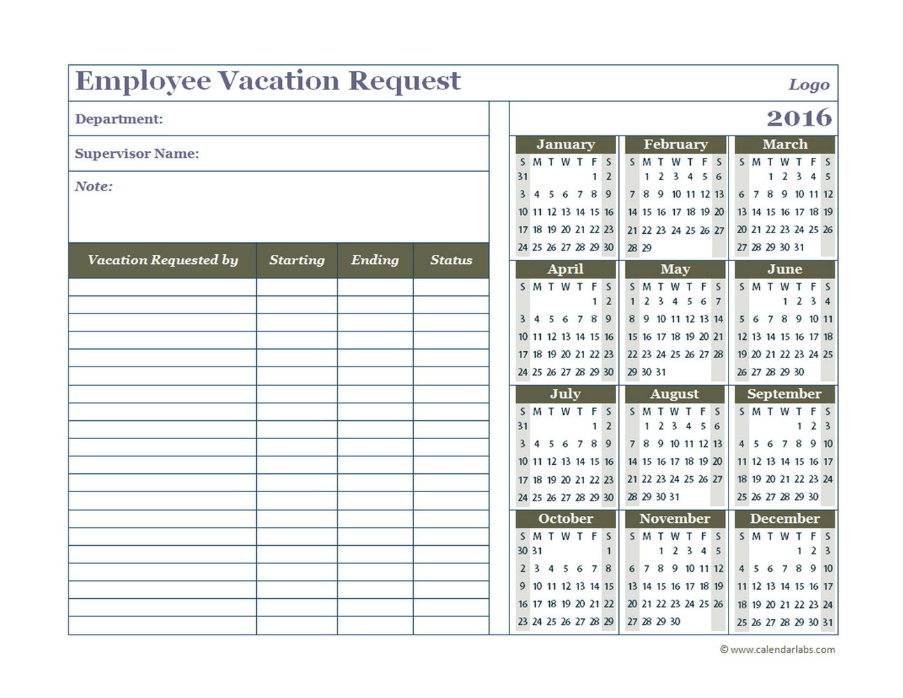 Vacation Calendar Template