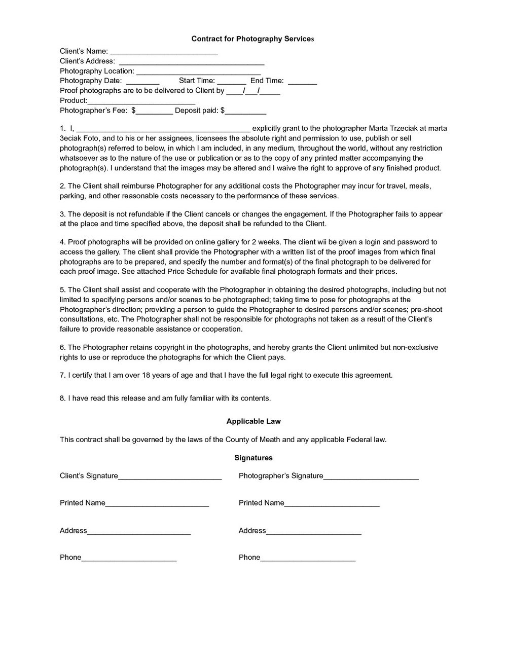 Wedding Photographer Contract Template