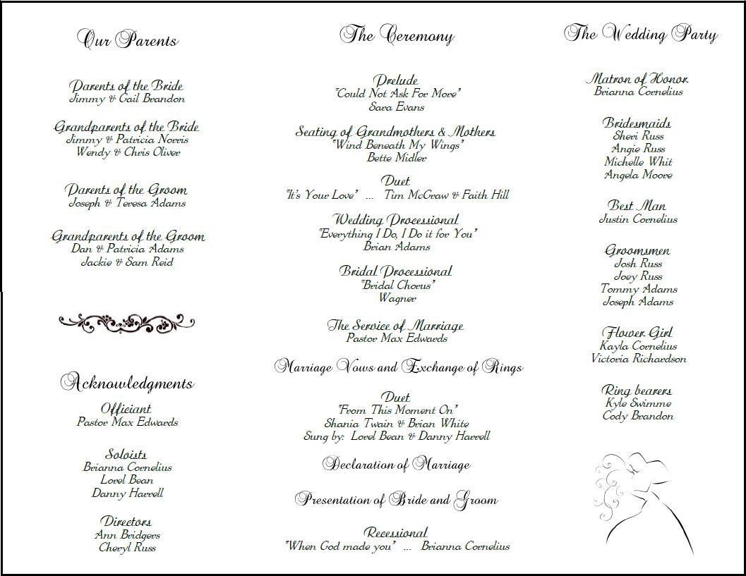 Wedding Reception Program Templates Free Download