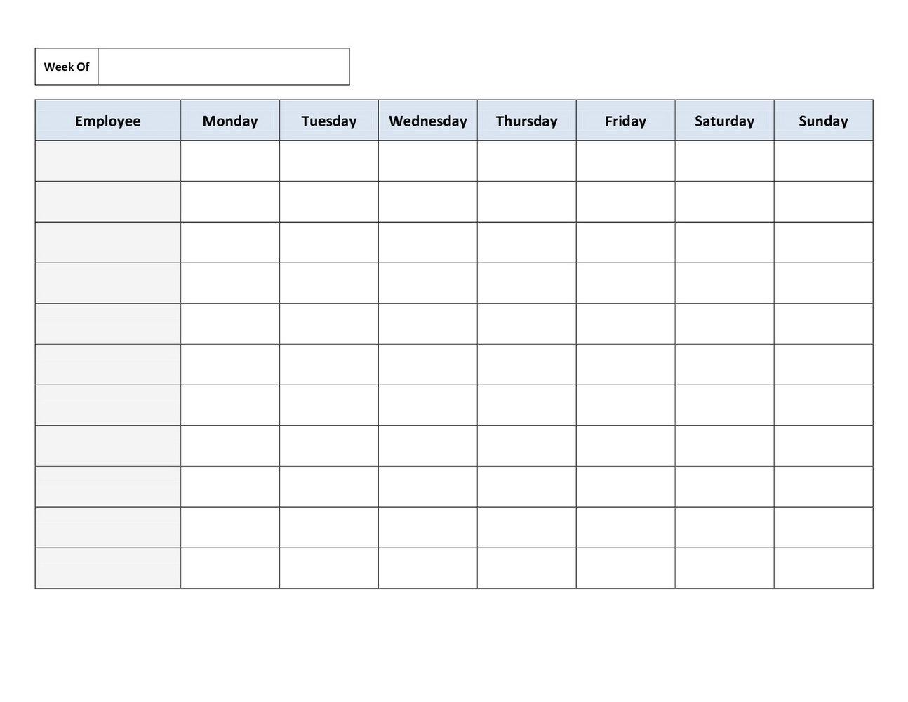 Weekly Employee Schedule Template