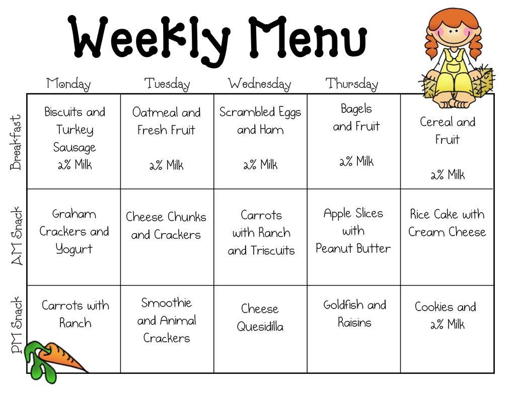 Weekly School Lunch Menu Template Templates Mtm4mtq