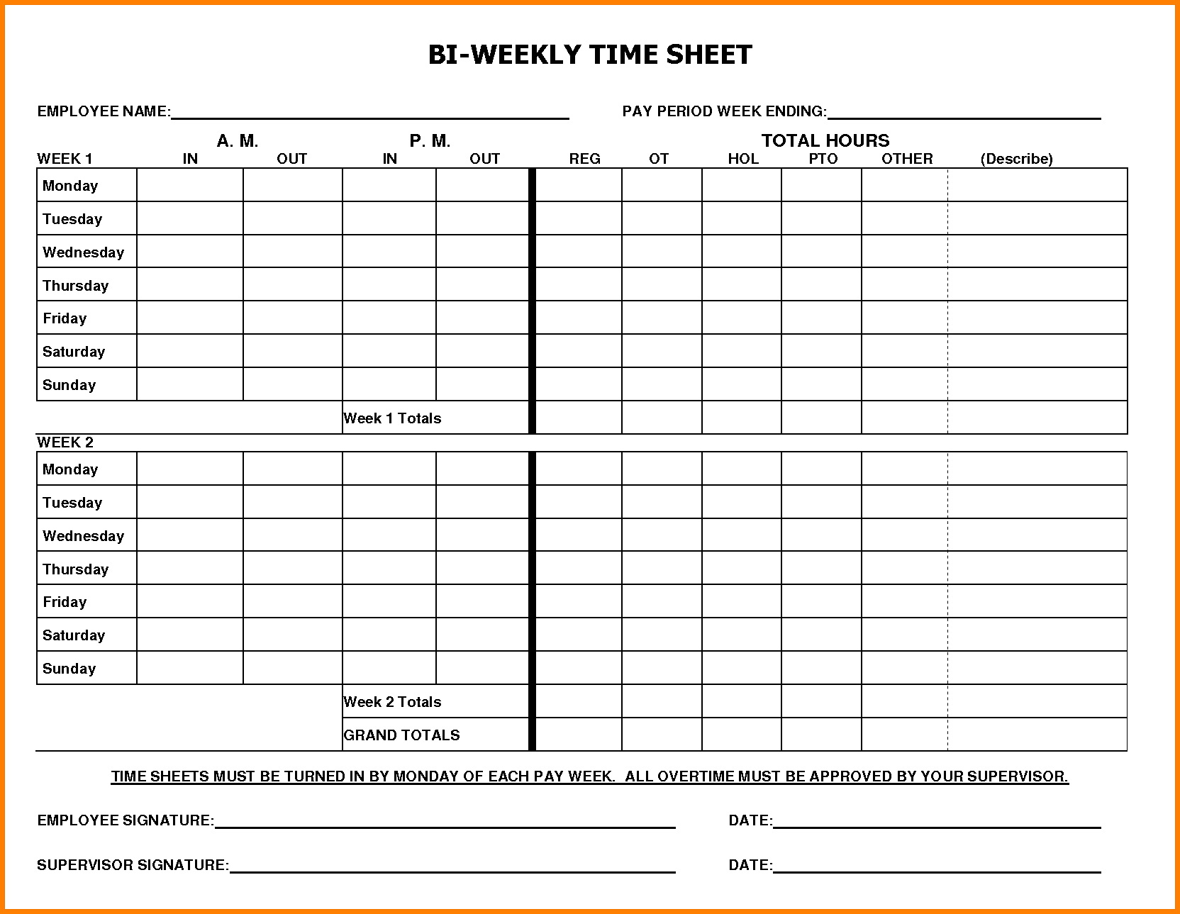 Weekly Timesheet Template Excel