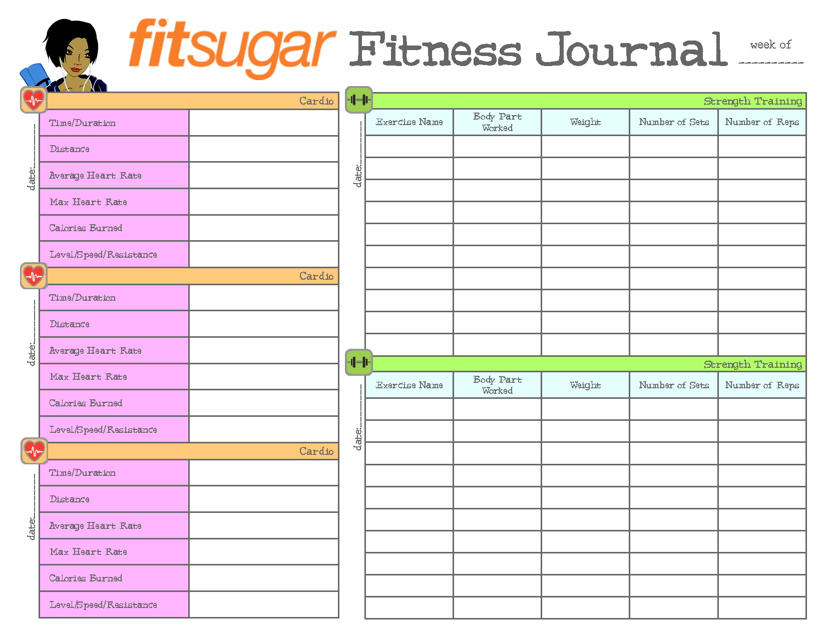 Workout Journal Template Free