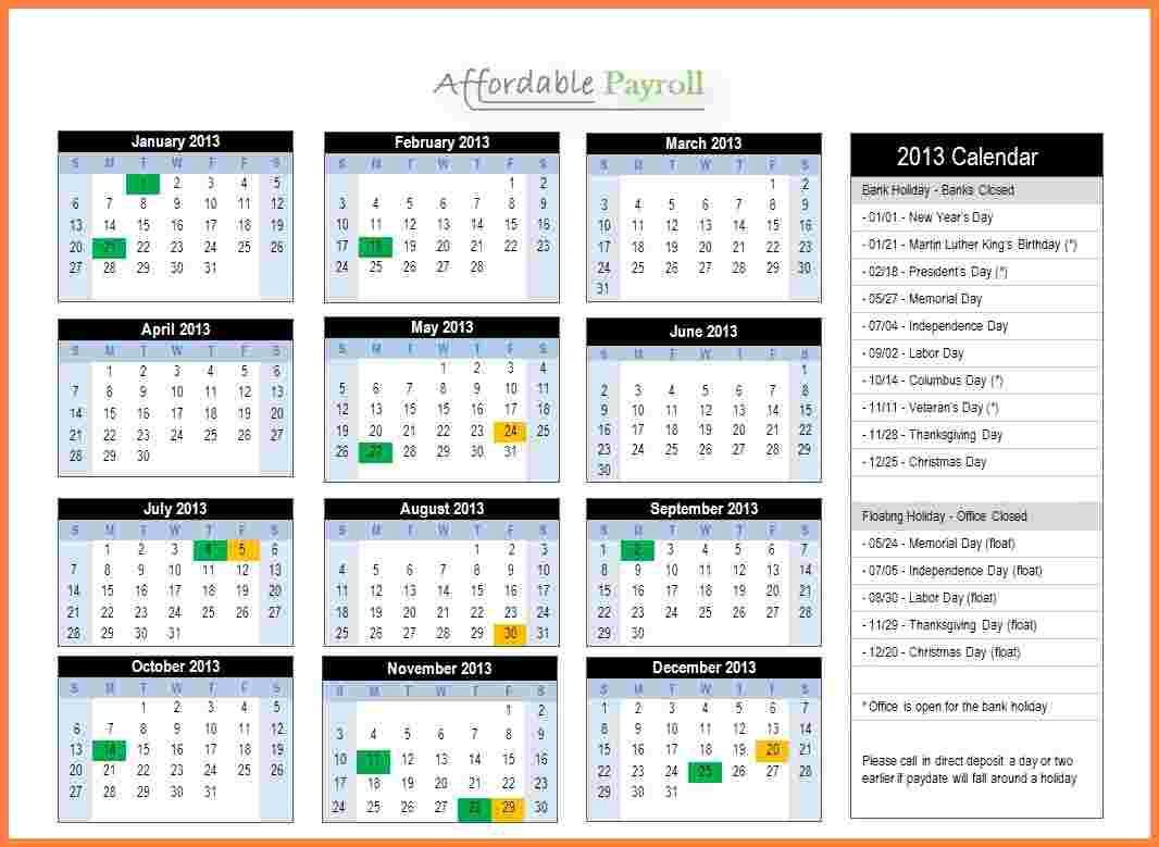 2019 Biweekly Payroll Calendar Template