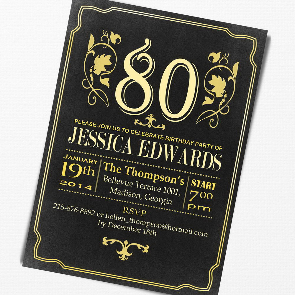image regarding 80th Birthday Invitation Templates Free Printable named 80th Birthday Invitation Templates No cost Printable