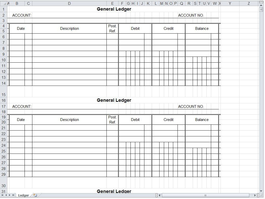 Accounting Ledger Template Printable