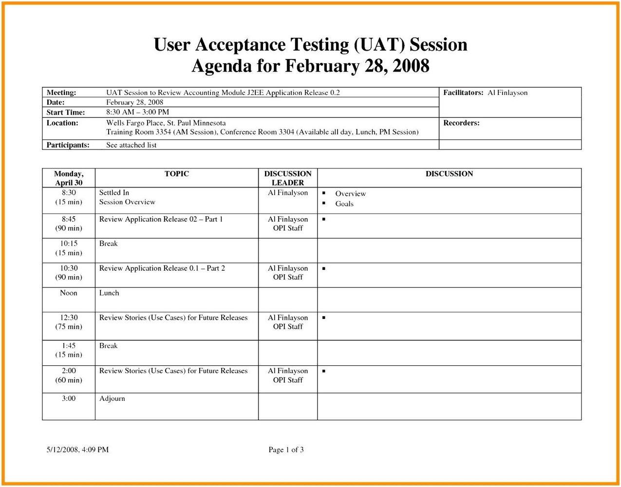 Agile Test Plan Template