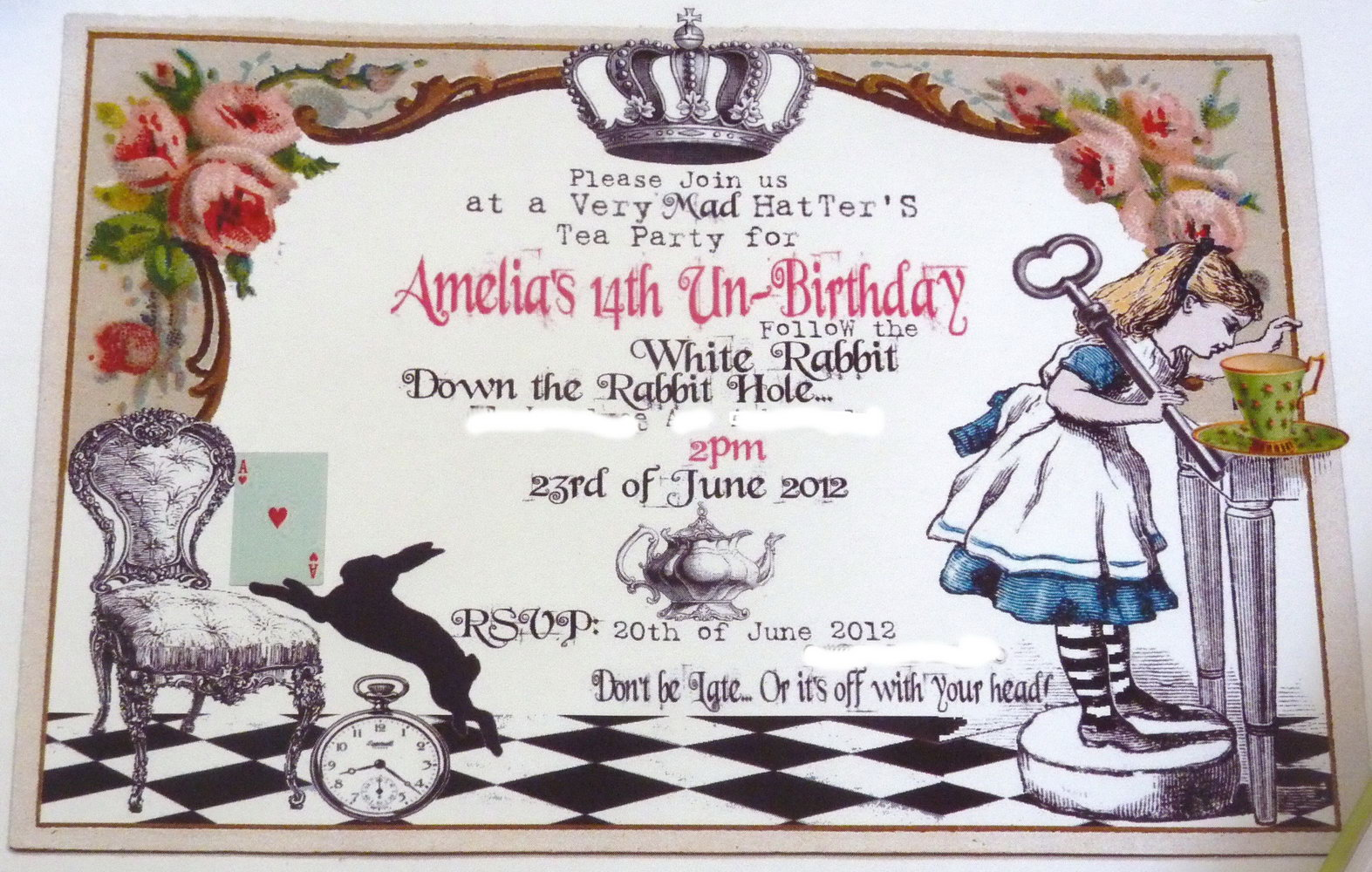 Alice In Wonderland Birthday Invitation Templates Free