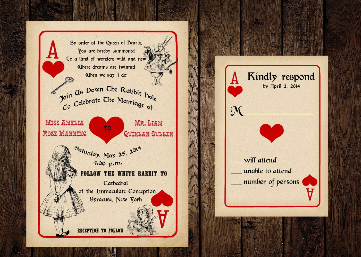 Alice In Wonderland Wedding Invitation Template
