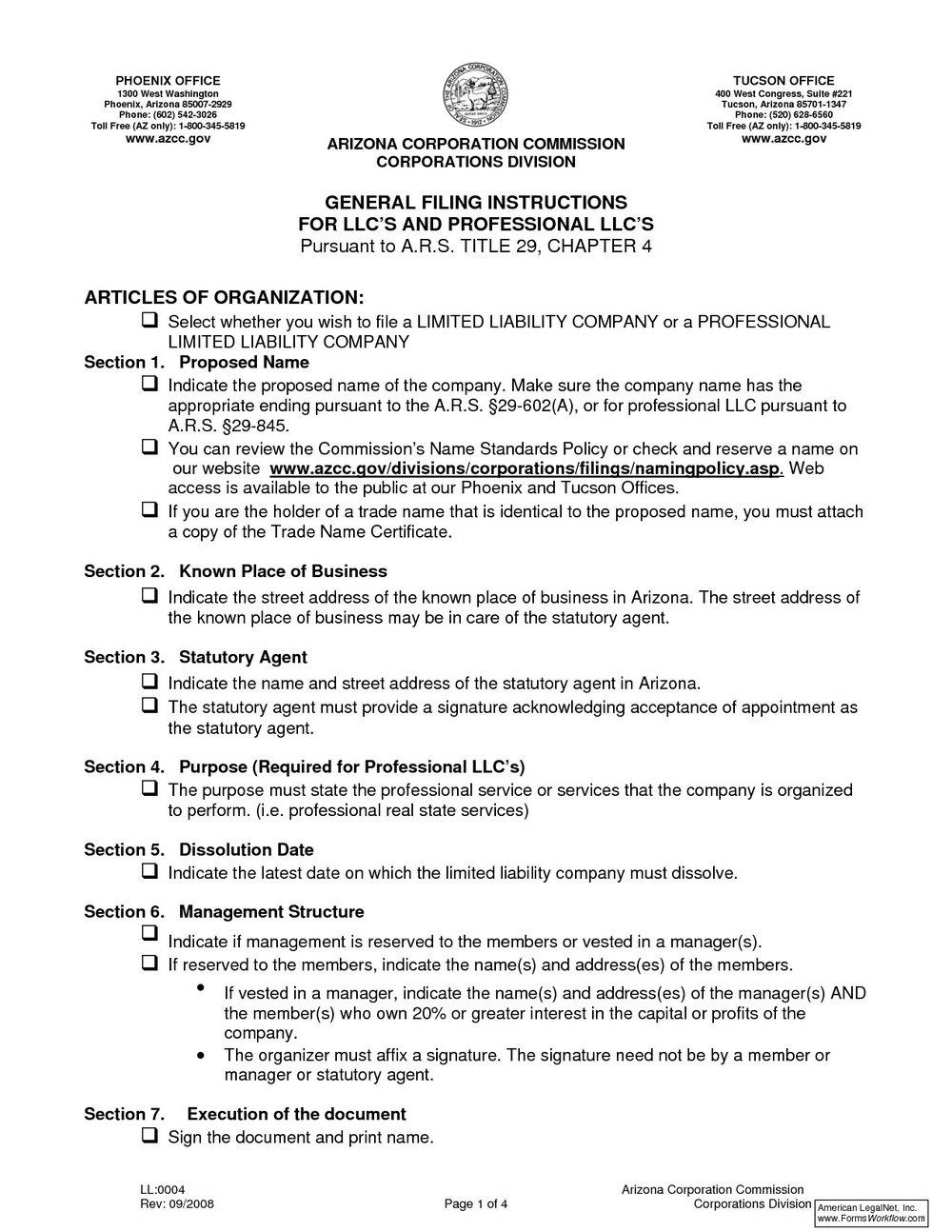 Articles Of Organization Llc California Template